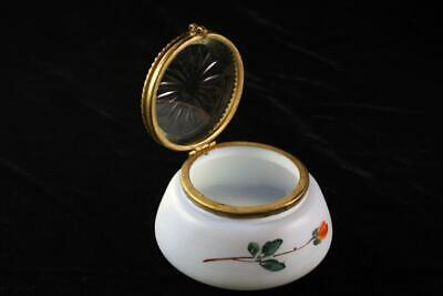 Victorian Milk Glass Crystal Lidded Bowl With Floral Pattern