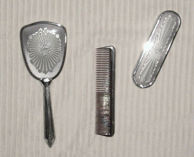 1960S His & Hers Silvery Brushes & Matching Comb ~ Lovely ~ Rare ~ Unused