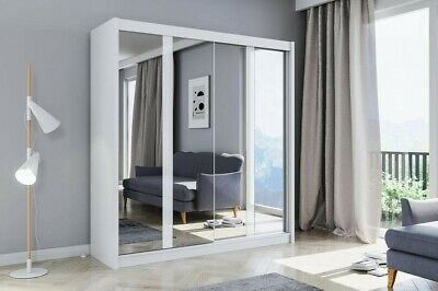 Miami Modern Bedroom Mirror Sliding Door Wardrobe In White 3 Sizes - LED Option