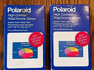 Lot of 2 Rolls Polaroid PolaChrome 35mm Slide Film Brand New exp 1989 NOS