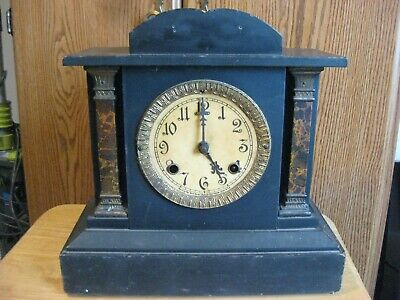 "Vintage New Haven Clock Co. ""Taurus"" Mantle Clock W/Ornate Brass Pendulum"