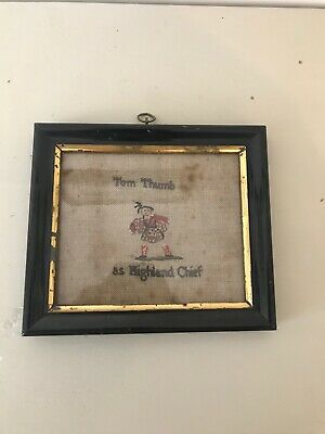 Antique Scottish Early 19th Century Framed Sampler Tom Thumb a Highland Chief