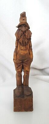 "Vtg▪SIGNED▪ RAUCH ▪David▪9"" ▪Hand Carved WOOD Country HILLBILLY Man FIGURINE"