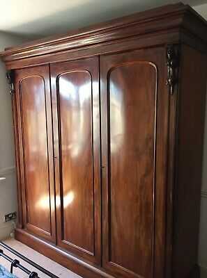 Huge Victorian Mahogany Wardrobe Built In Chest Drawers Linen Shelves Armoire