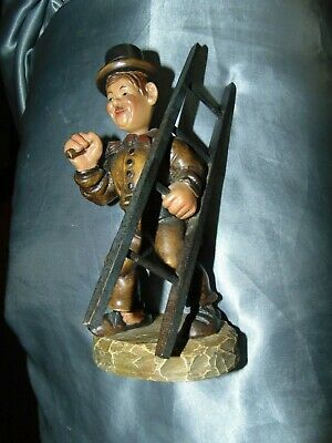 Vintage Folk Art Toy Hand Carved & Painted Wooden Working Man ,Bourings