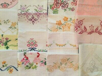 15 Vintage Embroidered Pillowcases- 040401