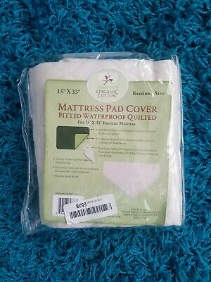 TL Care Organic Cotton Bassinet Fitted Mattress Pad Cover Waterproof Quilted New