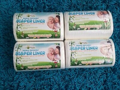 Naturally Nature Bamboo Disposable Diaper Liner 4 Rolls 100 Sheets Each