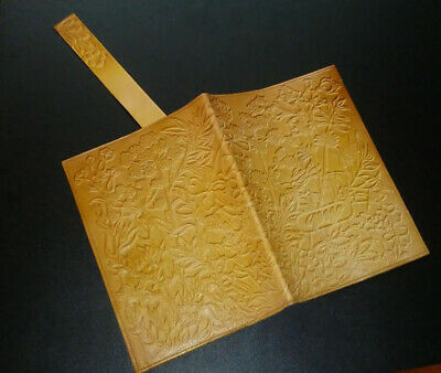 Bible Book Journal Cover Genuine Tooled Luxury Natural Leather 1980's Vintage