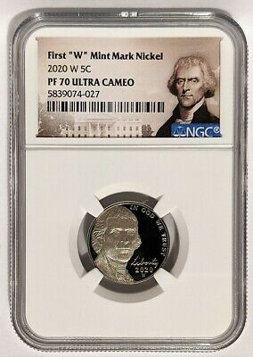 "2020-W 5C JEFFERSON First ""W"" Mint Mark Nickel PROOF NGC PF70 Ultra Cameo"