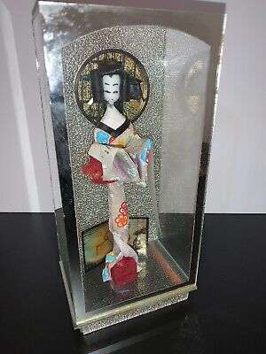 Vtg Japanese Paper Washi Doll In Glass Case With Love Letter Scroll