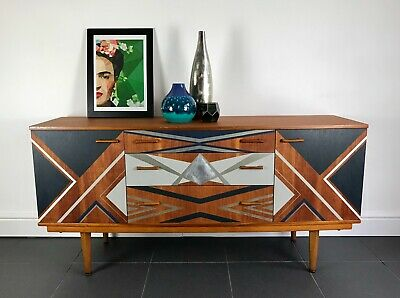 Mid Century Modern Teak Sideboard - Professionally Hand Painted & Refinished