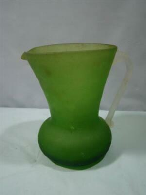 Small Hand Blown Green Satin Glass Pitcher with Clear Applied Handle