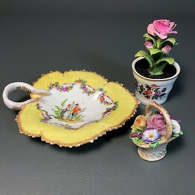 Antique Porcelain Meissen and European Miniatures, Dish Flower Pot Basket 19th C