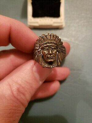 Old Pawn Navajo Sterling Silver Indian Chief Head Mens ring