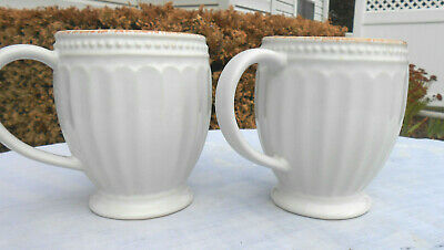2 Lenox French Perle Groove Off-White Coffee Mugs