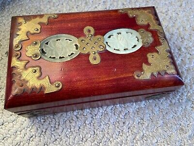 Antique Carved White Jade Asian/Chinese Jewelry And Trinket Box Wood Metal