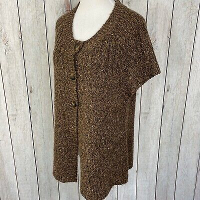 Charter Club Size XL Womens Button Up Short Sleeve Cable Knit Brown Sweater