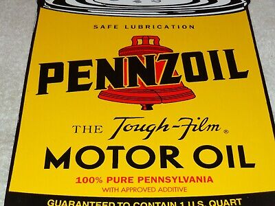 "Vintage Pennzoil Bell Tough Film Quart Can Oil 11"" Porcelain Metal Gasoline Sign"