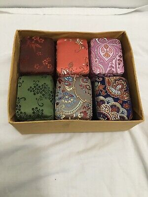 Lot of 12 Vintage Rectangle Silk Covered Chinese Jewelry Trinket Boxes,