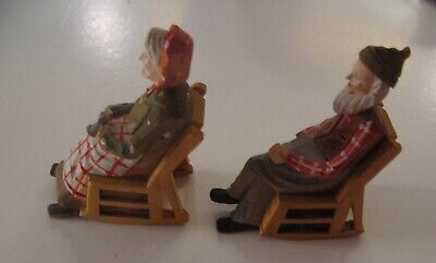 """Two 1936 Andre Bourgault 3"""" Hand Carved Wood Man Woman Rocking Chair"""
