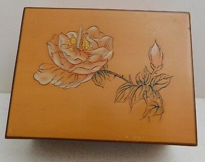Vintage Light Wood Carved Painted Flower Square Box With Lid Hunan China