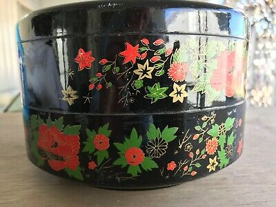 SEWING BOX -Round Hand Painted Chinese Imperial Style Balance Black Composition