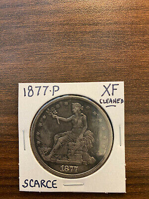 1877-P Trade Silver Dollar T$1 EXTRA FINE (XF) Cleaned