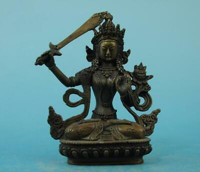 Chinese old copper fengshui hand-carved Manjusri Buddisattva Buddha statue c02