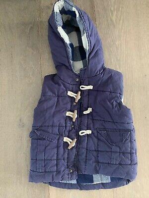 Boys Quilted VEST Tartan Lining With toggles - SZ 1/2