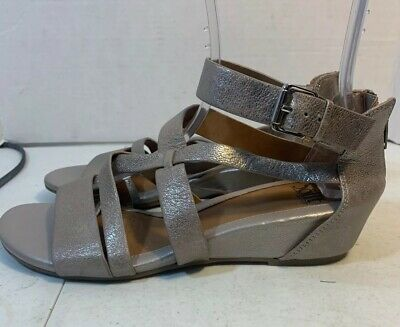 Sofft Womens Strappy Sandals Ankle Strap Wedge Mettalic 9.5