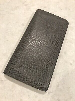 Authentic Louis Vuitton Gray Taiga Leather Bifold Long Wallet