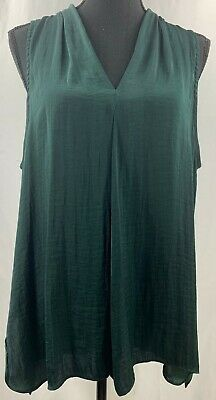Vince Camuto Women's Pleated V-Neck Sleeveless Shirt in Green Size X-Large