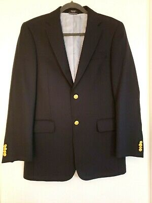 Tommy Hilfiger Two Button Suit Coat Blazer Size 38 Navy Jacket Gold Buttons