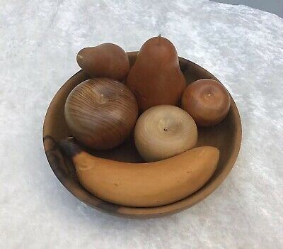 Hand Turned Australian Wooden Fruit Bowl With Assorted Fruit Huon Pine Blackwood