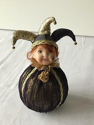 Court Jester Round Bottomed Porcelain Faced Doll #546
