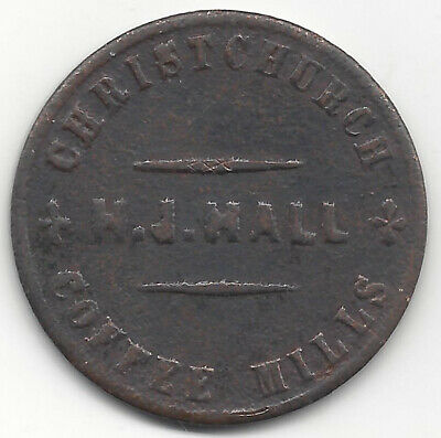 H. J. Hall Christchurch Coffee Mills Family Grocers Australasian Trade Token