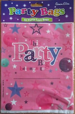 Pack Of 10 Girls Pink Party Loot Bags By Simon Elvin - Free P&P