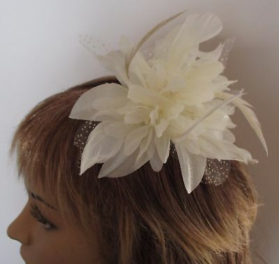Ivory Cream Flower & Feather Fascinator On A Comb - Wedding Bridesmaid Ascot