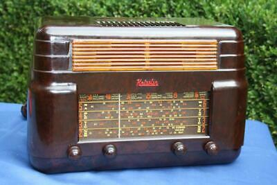 Beautiful Vintage Mottled Brown Bakelite Kriesler Valve Radio