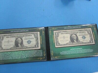 USA Commemorative U.S. Dollar Silver Certificates (2 Notes 1935 & 1957)