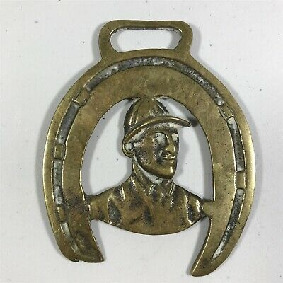 Vintage Horse Brass Collectable - Horse Riding Jockey <B4 (T23)