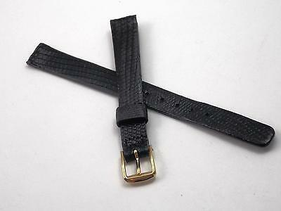 "10mm 3/8"" Black Genuine Lizard Ladies Watch Band Vintage Gold Tone Buckle NOS"