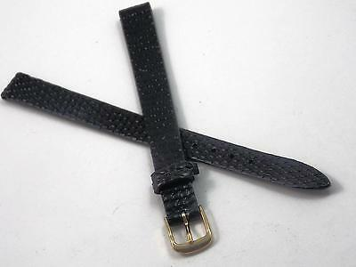 "Vintage Speidel 10mm 3/8"" Ladies Black Genuine Lizard Watch Band Gold Tone Buckl"