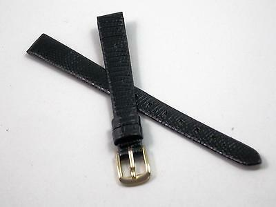 "Hadley Roma Ladies Black Lizard 10mm 3/8"" Watch Band Vintage Gold Tone Buckle"