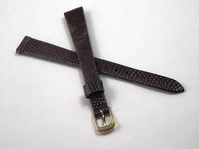 Ladies Vintage Watch Band Speidel Gold Tone Buckle 11mm Brown Genuine Lizard NOS