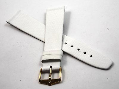 White Lizard Grain Watch Band Mens Hirsch Rainbow Vintage Gold Tone Buckle NOS