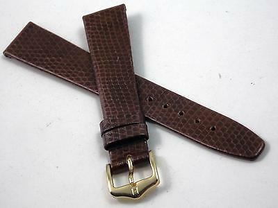 Rainbow Hirsch Mens Vintage 17mm Watch Band Brown Lizard Grain Gold Tone Buckle