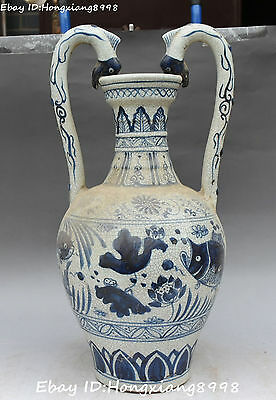 """18"""" Marked China Porcelain Carving Dragon Dragons Loong Beast Fish Fishes Statue"""