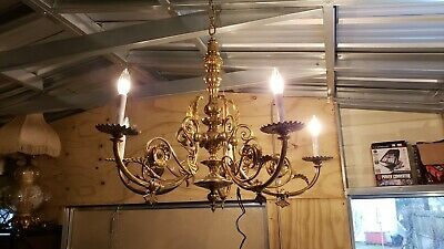 Gorgeous Vintage Ornate Solid Brass Chandelier 5 Arm